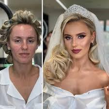 their wedding makeup