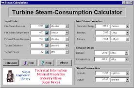 sugar steam turbine calculations