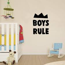 Amazon Com Wall Decal For Boys Bedroom Boys Rule 23 X 17 Cute Art Decals For Baby Nursery Room Wall Decor Toddler Boy Bedroom Vinyl Stickers Decoration Arts Crafts Sewing