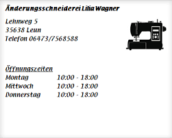 Änderungsschneiderei Lilia Wagner ▷ Schneidereien in Leun Bissenberg -  Öffnungszeiten