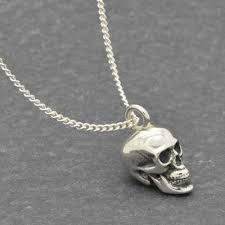 silver skull pendant name my jewellery