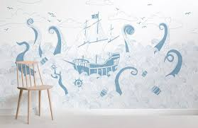 blue and white pirate ship wallpaper