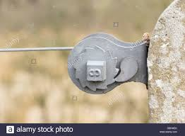 Wire Fence Tensioner Ratchet Device Mounted On A Concrete Post And Stock Photo Alamy