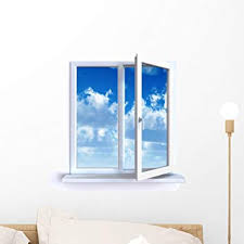 Amazon Com Wallmonkeys Open Window And The Cloudy Sky Wall Decal Peel And Stick Graphic Wm332990 18 In H X 18 In W Home Kitchen