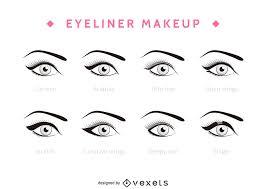 types of eyeliner set vector