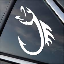 Amazon Com Fish Hook Left Facing Vinyl Fishing Car Window Decal Sticker White Automotive