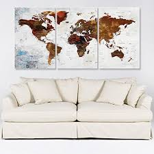Amazon Com World Map With Countries Wall Art For Living Room Decor Canvas Print Travel World Map Wall Art Canvas Sets Watercolor Map Wall Decal Framed Stetched On Canvas Art Map Of World