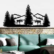 Mountains Wall Vinyl Stickers Nature Pine Trees Wall Decal Forest Landscape Wallpaper Deer Animals Wall Mural Home Decor Ay1364 Wall Stickers Aliexpress