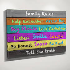 Family Rules Colorful Wood Canvas Zapwalls