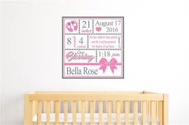 Baby Girl Birth Announcement Vinyl Decal Wall Stickers Nursery Independence