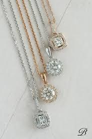 round and square diamond halo pendants