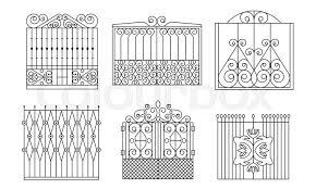 Decorative Wrought Iron Gates Set Stock Vector Colourbox