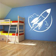 Kids Room Decor Removable Vinyl Rocket Toy Space Ship Wall Decal Home Space Toy Store