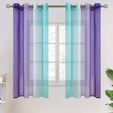 Amazon Com Bgment Ombre Sheer Curtains For Kids Room Faux Linen Grommet Two Color Linear Gradient And Decorative Window Curtain Panels For Girls Room Set 2 Panels Each 52 X 63 Inch Teal