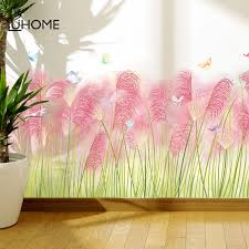 Living Room Baseboard Wall Stickers Pink Reed Decal Skirting For Balcony Bedroom Mural Art Home Decoration Pvc Wall Decal Wall Stickers Aliexpress