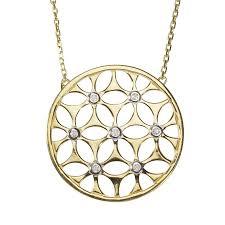 9ct gold diamond circle pendant necklace