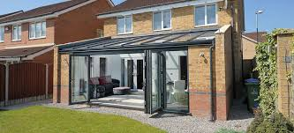shallow sloping glass roof conservatory