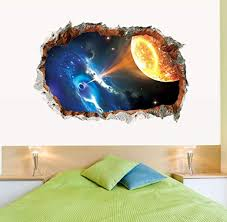 Amazon Com Wangjru 3d Universe Black Hole Outer Space Planets Wall Stickers Cosmic Galaxy Decal For Kids Room Baby Bedroom Ceiling Floor Decoration Kitchen Dining