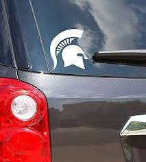 Amazon Com Michigan State University White Spartan Helmet Car Decal Made From Premium Weatherproof Vinyl Arts Crafts Sewing