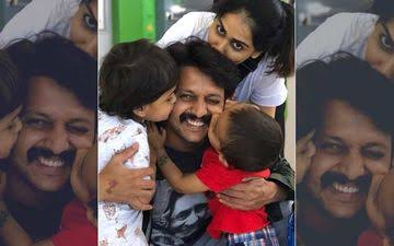 """Image result for genelia with ritesh and two kids"""""""