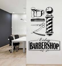 Creative Barber Shop Haircut Tools Wall Window Decal Art Man Salon Persoanlzied Name Your Baber Shop Logo Wall Sticker Y154 Wall Stickers Aliexpress