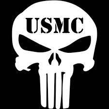 Amazon Com Marvel The Punisher Auto Decal Truck Emblem Car Sticker Vinyl White Usmc Kitchen Dining