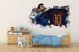 Messi Barcelona Wall Hole 3d Decal Vinyl Sticker Decor Room Smashed Dg006 Ebay