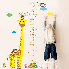 Besufy Cartoon Giraffe Monkey Kids Height Chart Wall Sticker Nursery Kids Room Decal Walmart Com Walmart Com