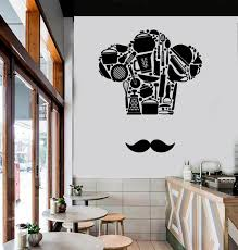 Wall Vinyl Decal Kitchen Cooking Chef French Hat And Mustache Etsy