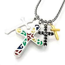 saints face cross pendant necklace