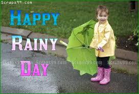 happy rainy day kid with umbrella picture