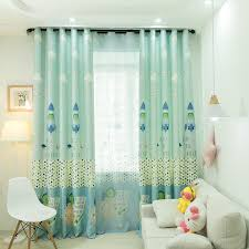 Children Rocket Boys Seafoam Green Blue Alphabet Curtains Cute Kids Room Drapes