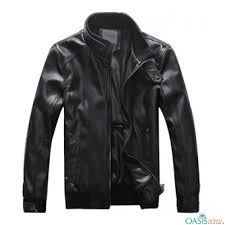 attractive black leather jacket