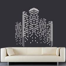 City Skyline Wall Decal Buildings Town Lights Block Usa Ny Damask Pattern M1379 Ebay