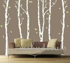 Vinyl Wall Decals White Tree Decal Nursery Six Birth Trees Birds Leaf Bird Trees Home House Art Wall On Luulla