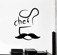 Wall Decal Chef Kitchen Restaurant Cafe Mustache Word Vinyl Sticker E Wallstickers4you