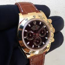 rolex daytona yellow gold leather black