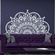Half Mandala Wall Decal Headboard Vinyl Sticker Boho By Decalhouse Wall Paint Designs Wall Painting Wall Art Designs