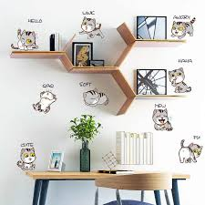 Cute Cartoon Cat Wall Sticker Bedside Cabinet Refrigerator Art Decals For Baby Girls Kids Rooms Home Decor Classroom Wall Decal Wall Stickers Aliexpress