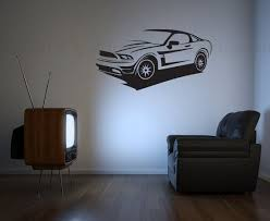 Mustang Sports Car Vinyl Wall Decal Wall Sticker By Valdonimages 30 00 Sportscar Ford Wallart Man Cave Wall Decals Man Cave Wall Decor Car Themed Rooms