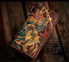 biker long leather carved wallet