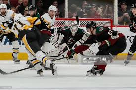Arizona Coyotes goaltender Adin Hill looks through traffic for the...  ニュース写真 - Getty Images