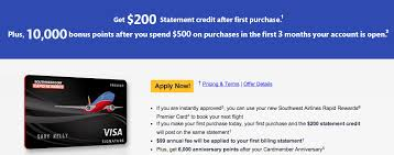 southwest credit card offer of 200 and