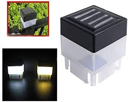 Amazon Com 4 Pack Solar Light Solar Powered Outdoor Led Square Fence Light Garden Landscape Post Deck Lamp Led Step Light Illuminates Stairs Patio Deck Yard Garden Outsides Path Fence Post