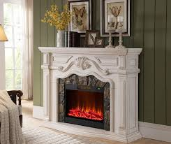 62 inch grand white fireplace lit up