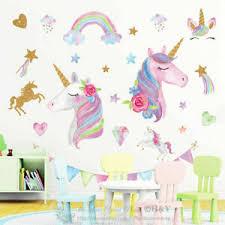 Large Unicorn Rainbow Wall Stickers Nursery Decor Girls Room Vinyl Decal Gift Ebay