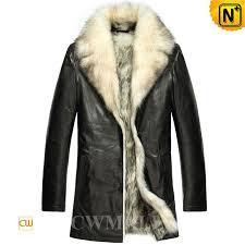 cwmalls mens black wolf fur coat