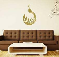 Amazon Com Peacock Wall Decal Vinyl Decor Sticker For Living Room Bedroom Office Study Ballroom Metallic Gold Black White Silver Brown Pink Purple Red Other Colors Small And Large Sizes Handmade