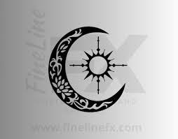 Sun Compass And Crescent Moon Vinyl Decal Sticker
