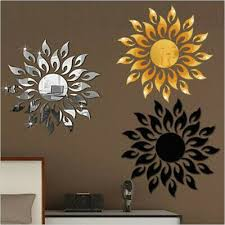 Home Decor Removable Stickers New Room Art Acrylic 3d Mirror Sun Wall Sticker Fashion Ho In 2020 Wall Stickers Living Room Diy Wall Art Decor 3d Mirror Wall Stickers
